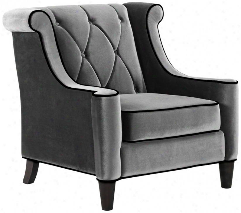 Advocate Gray Velvet Club Chair (t4187)