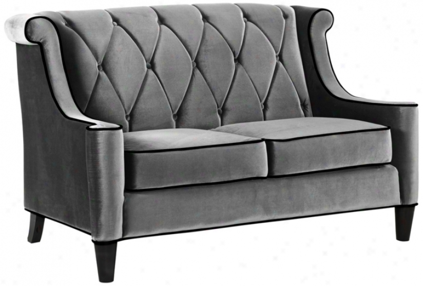 Barrister Gray Velvet Love Seat (t4190)