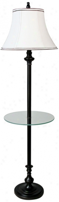 Barton Bronze Floor Lamp With Tray End Table (v2081)