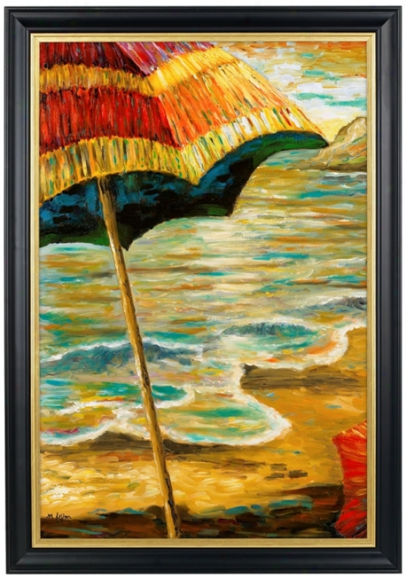 "Beach Parasols Ii Gold Trim Giclee 41 1/2"" High Wall Art (80384-m6474)"