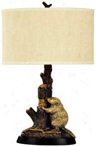 Beaver And Tree Trunk Table Lamp (j2259)