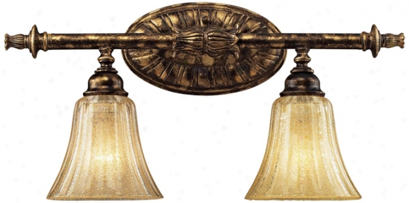 Bedminster Collection Burnt Gold Leaf 2-light Bath Fixture (74232)