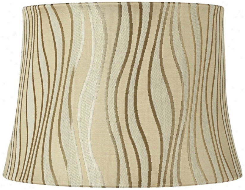 Beige And Silver Curved Lines Lamp Shade 10x12x8.5 (spider) (v3709)