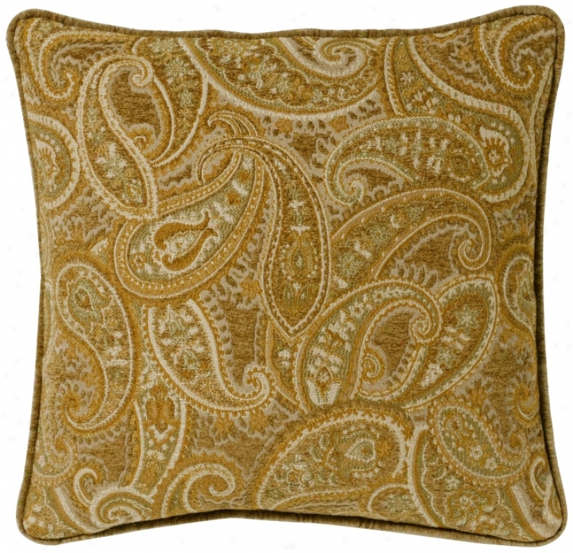 "Beige-gold Paisley 02"" Square Pillow (g2935)"