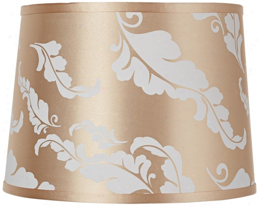 Beige Leaf Print Drum Shade 13x15x11 (spider) (u0938)