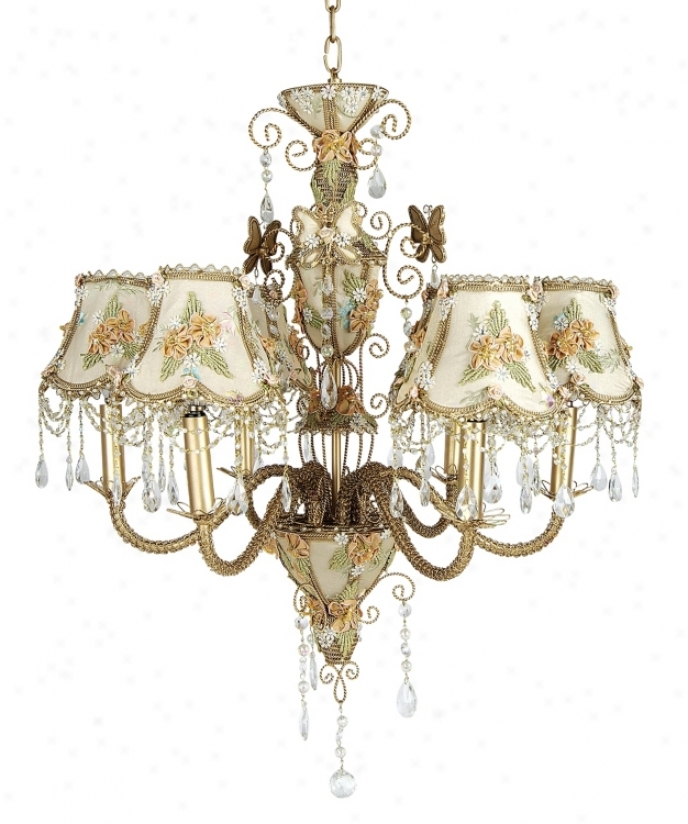 Beige Victorian Splendor Six Light Chandelier (62235)