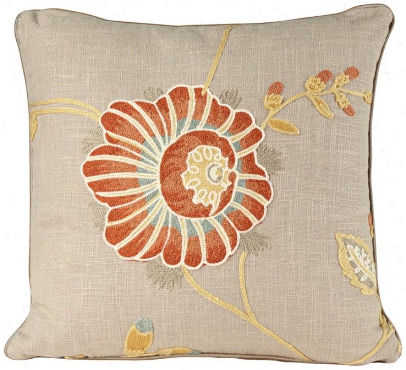 "Bella Collection 18"" Square Embroidered Decorative Pillow (u0039)"