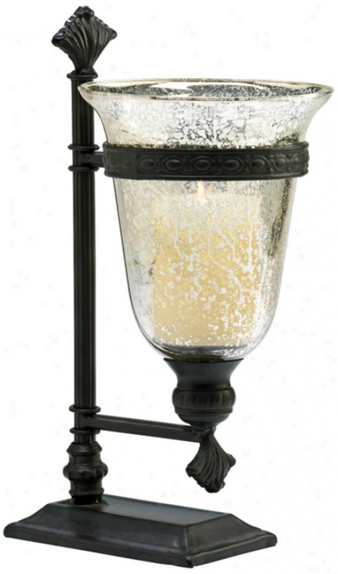 Bello Black Iron And Antique Mirror Glass Candleholder (v0888)