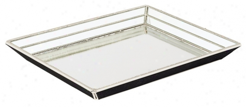 Beveled Glass And Metal Serving Tray (84946)