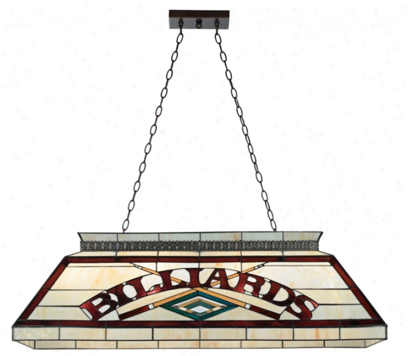 Billiards Burgundy And Cream Tiffany Style Pool Table Light (t7276)