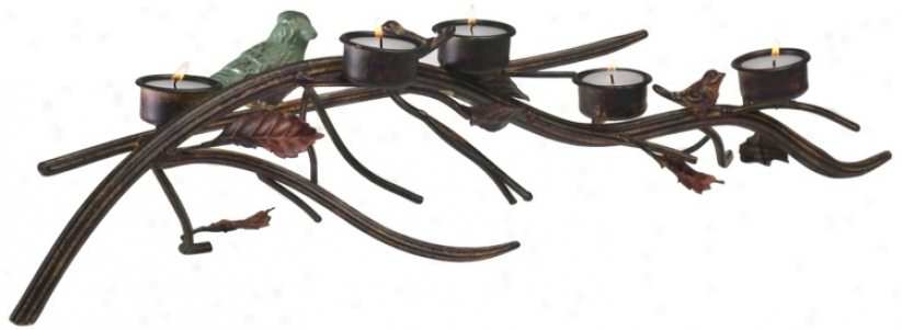 Fowl And Leaves On Branch Tealight Candle Holder (u0711)