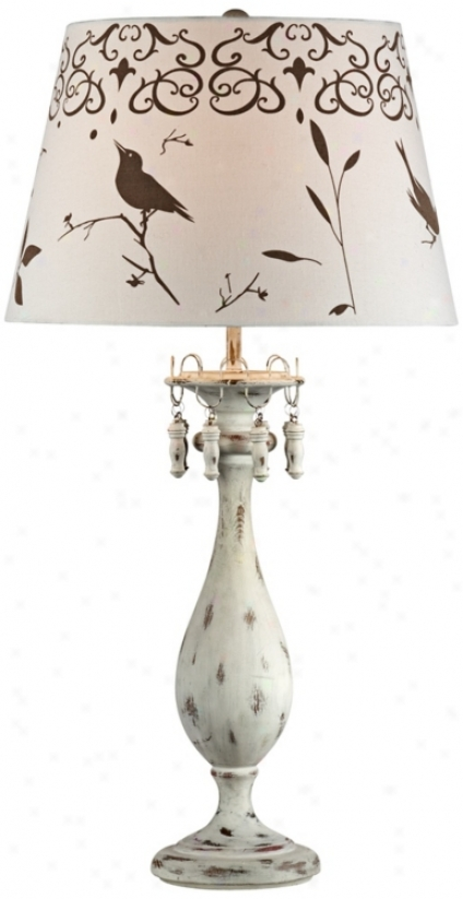 Bird In Garden Motif Distressed White Table Lamp (v3335)