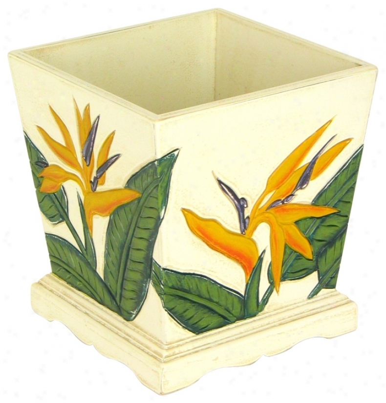 Bird Of Paradise Carved Decorative Tub (h5512)