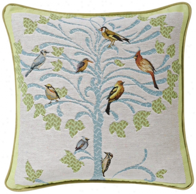 "Bird Tree White 19"" Square Pillow (g2879)"