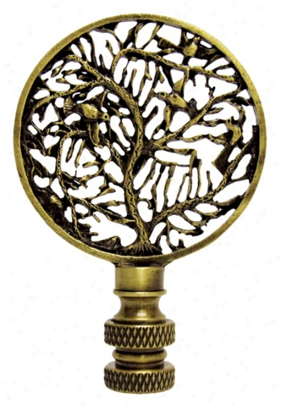 Birds In Tree Antique Metal Finial (43451)