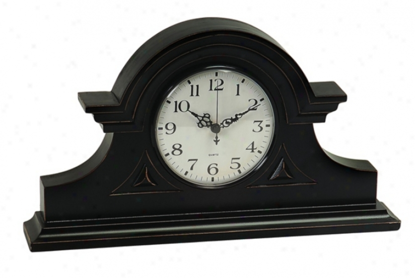 "Black 15"" Wide Mantel Clock (m8500)"
