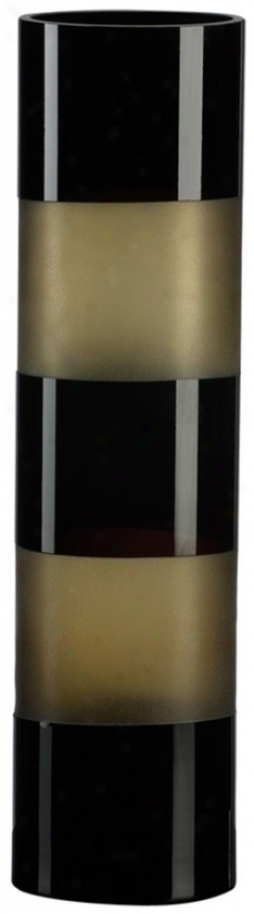 "Black And Amber 15 3/4"" High Art Glass Vase (j0416)"
