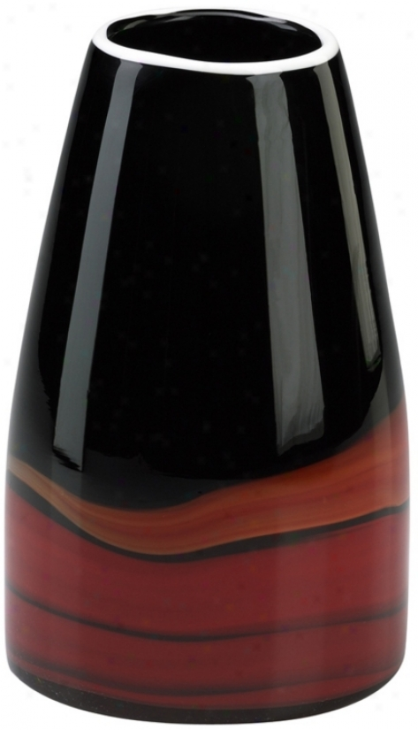 "Black And Deep Red 8 3/4"" High Creation of beauty Glass Vase (j0426)"