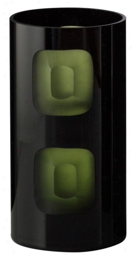 "Black And Green 8"" High Chiseled Trade Vase (h9899)"
