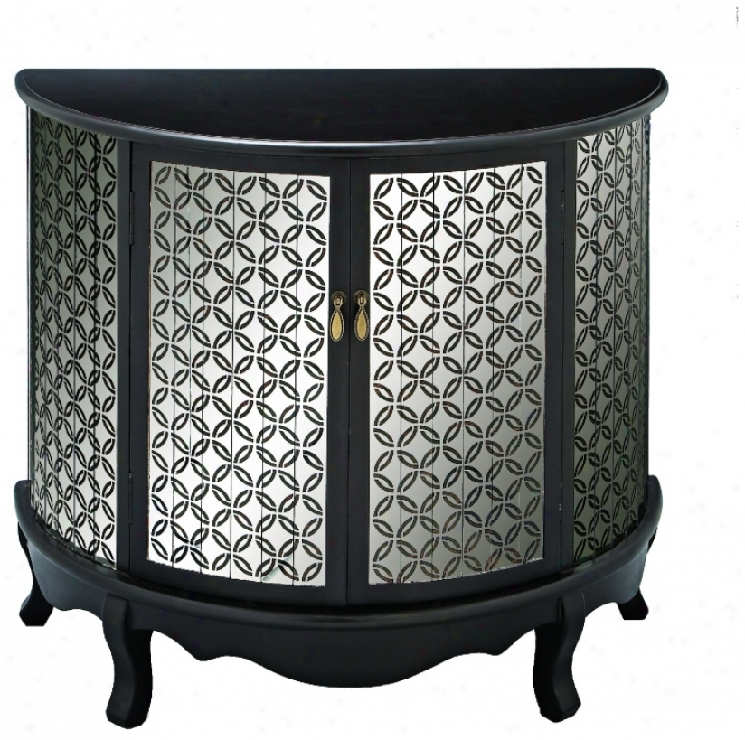 Black And Mirrored Demilune Bracket Table (u2979)