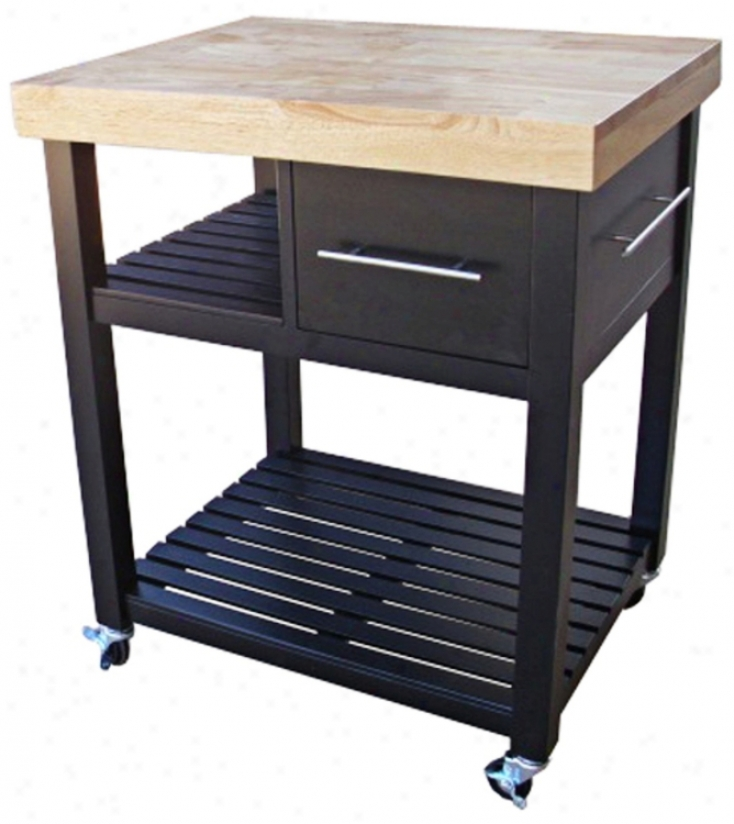Black And Natural Finish Kitchen Work Center (u4260)