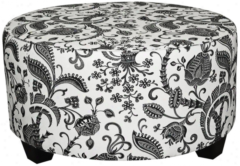 Black And White Domino Round Cocktail Ottoman (w3864)