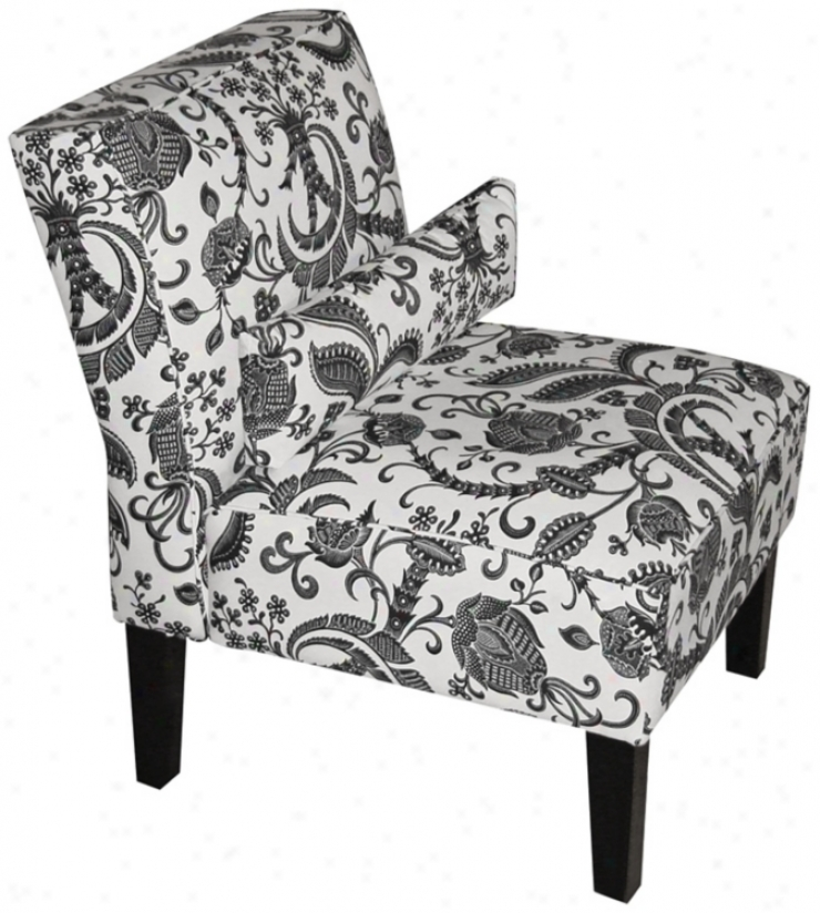 Black And White Domino Upholstered Armless Chair (w3871)