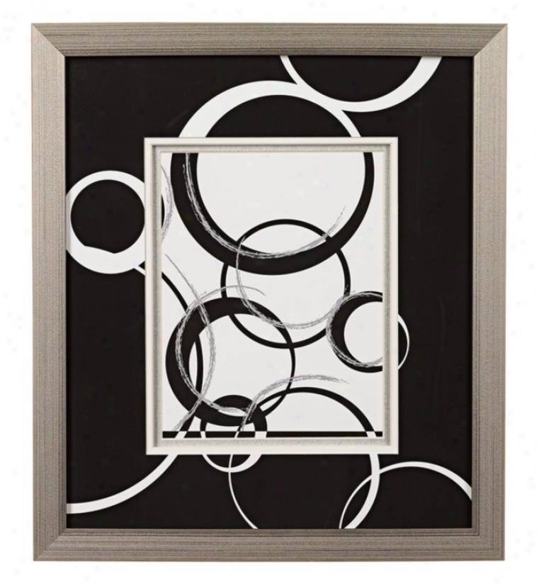 Black And White Spheres B Framed Wall Art (k2027)