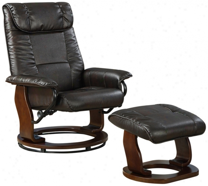 Black Bonded Leather Wood Base Swivel Recliner And Ottoman (w1360)