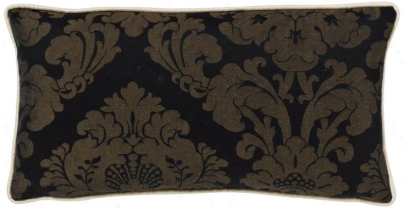 Black Damask Rsctangular Pillow (g2949)
