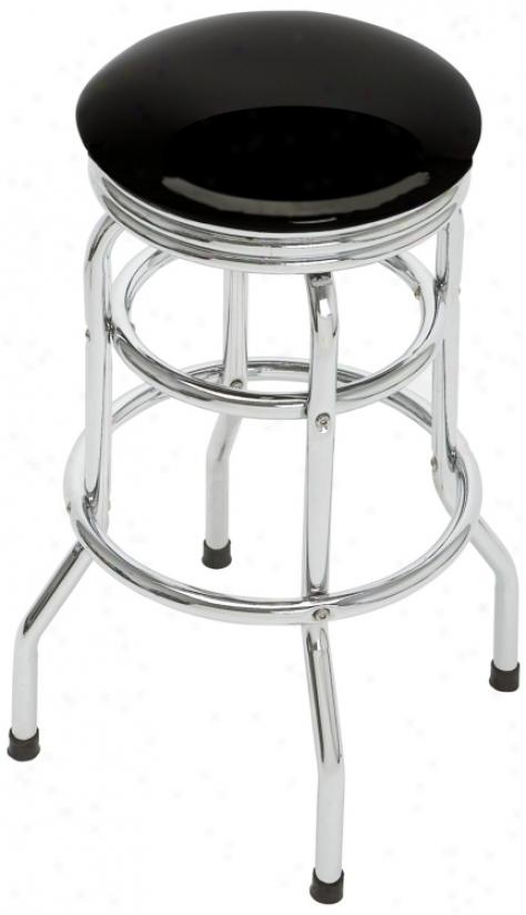 Black Doouble Ring Retro Bar Stool (t5566)