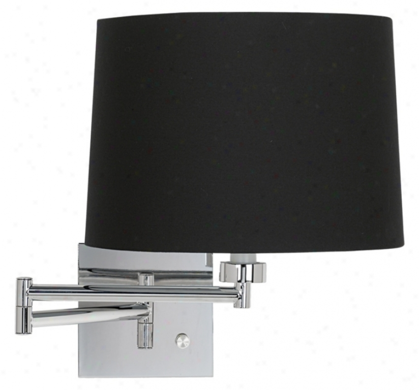 Black Fabric Drum Shade Plug-in Swing Arm Wall Lamp (79404-88533)