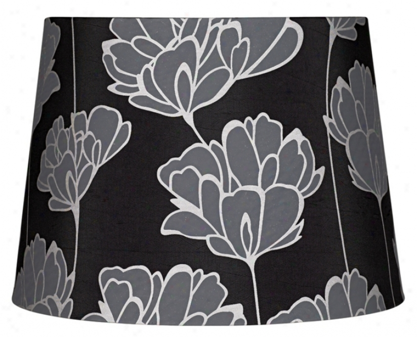 Black Faux Silk With Floral Print Shade 11.5x14x10 (spider) (47813)