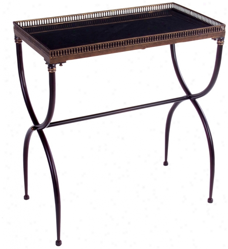 Black Finish Rectangular X-leg Accent Table (j7233)