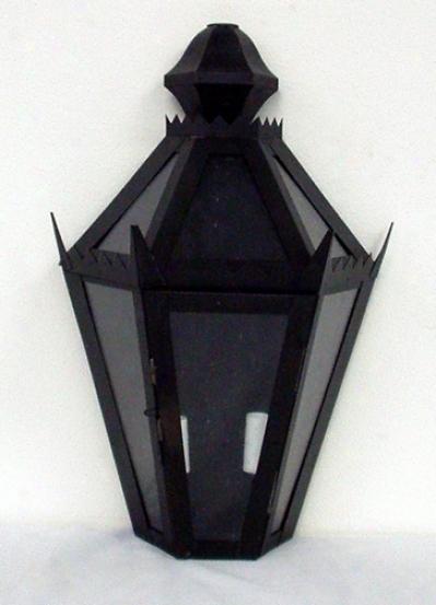 Black Finish Smoke Glass Outdoor Wall Lantern (34899)