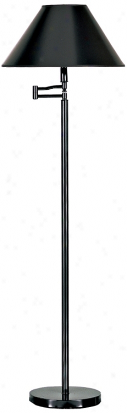 Black Finish With Black Shade Swing Arm Floor Lamp (h4189)