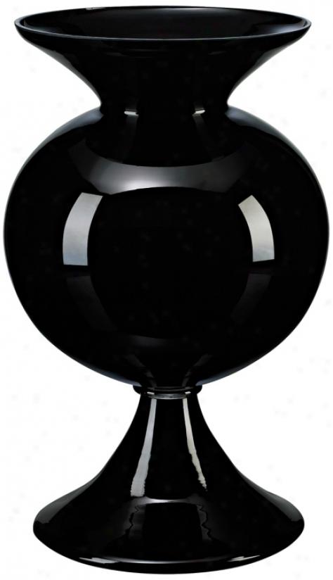 Black Glass Fish Bowl Vase (j0412)