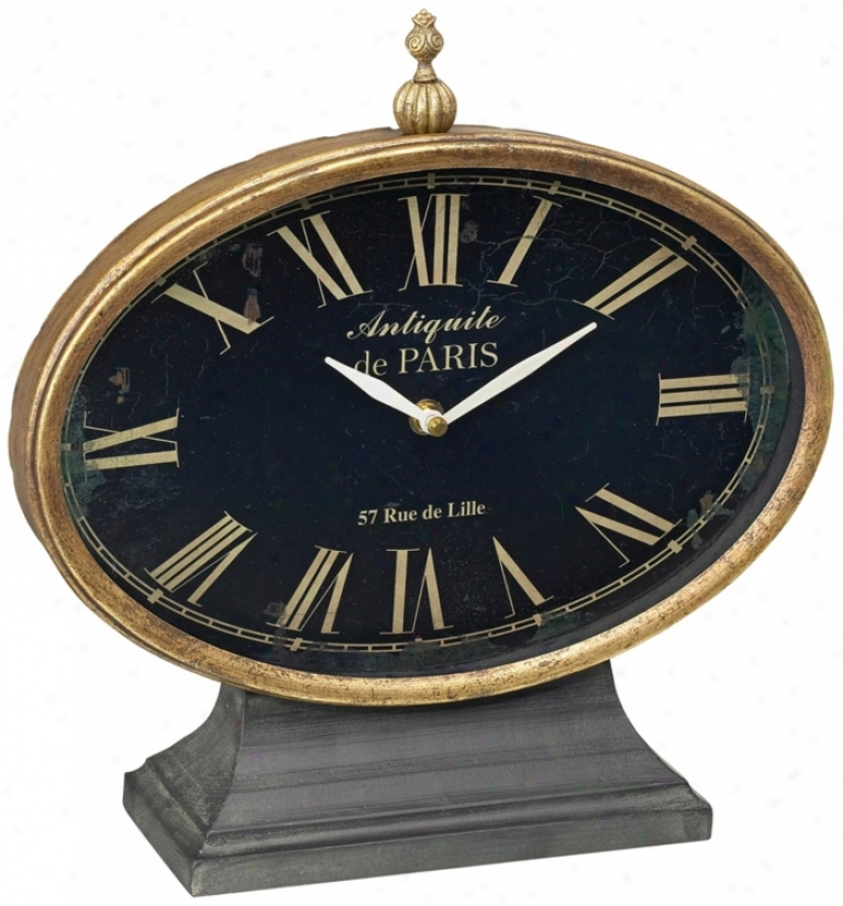 Black Iron By the side of Antique Gold Trim Tabletop Clock (n7580)