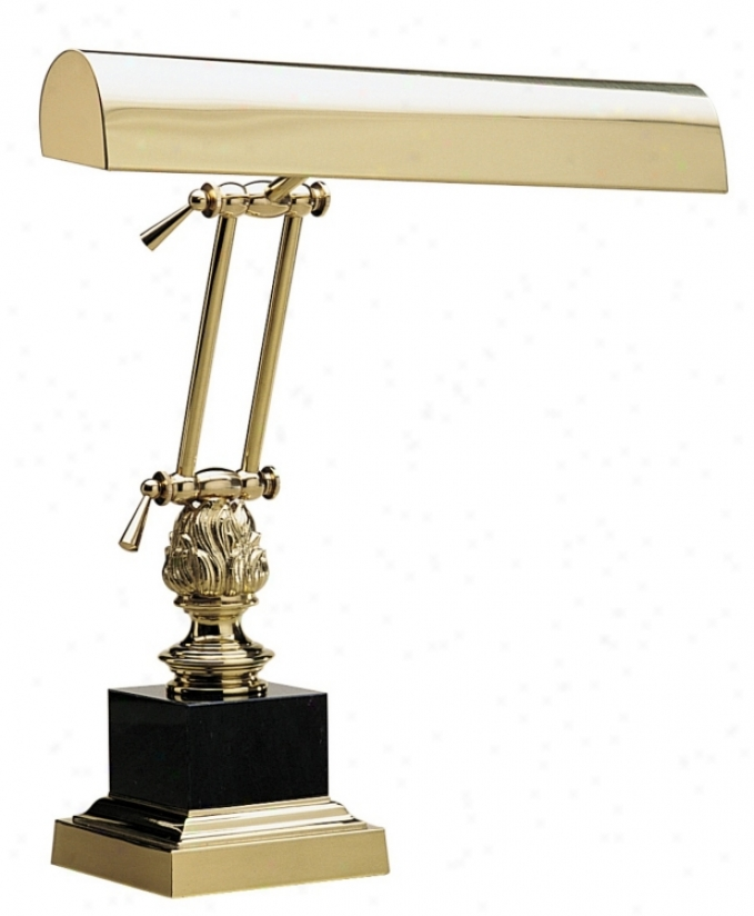 Black Marble And Solid Brass Piano Lamp (94072)