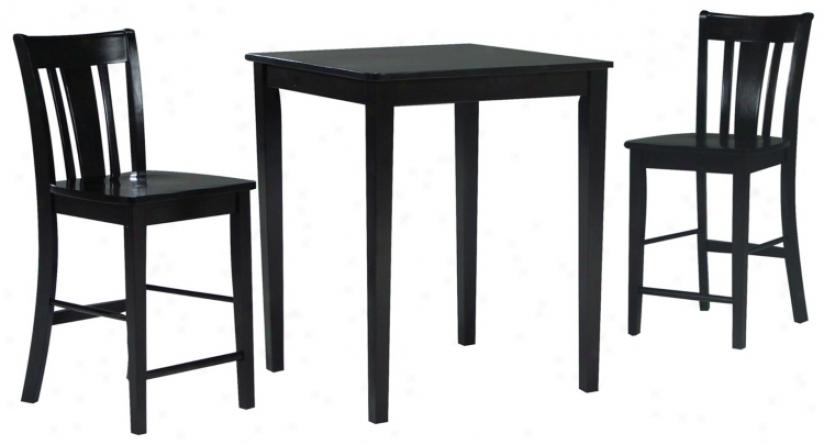 Black Onyx Gatherimg Table With 2 San Remo Stools (u4306)