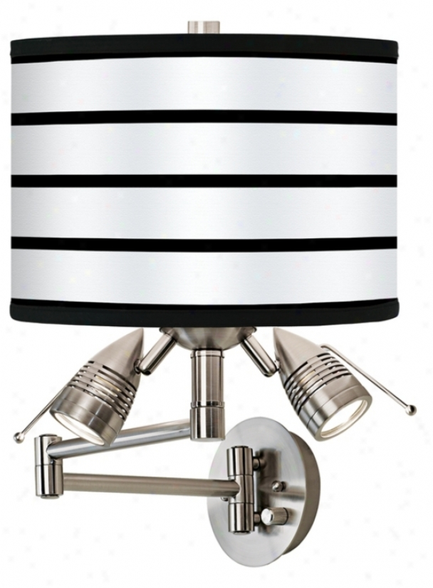 Black Parallels OnW hite Giclee Swing Arm Wall Light (80379-89049)