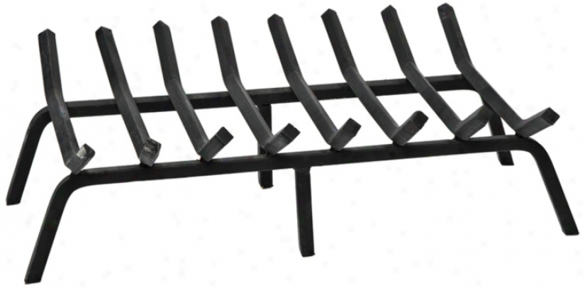 "Black Powdef Coated 28"" Wide Non-tapered Fireplace Grate (u9201)"