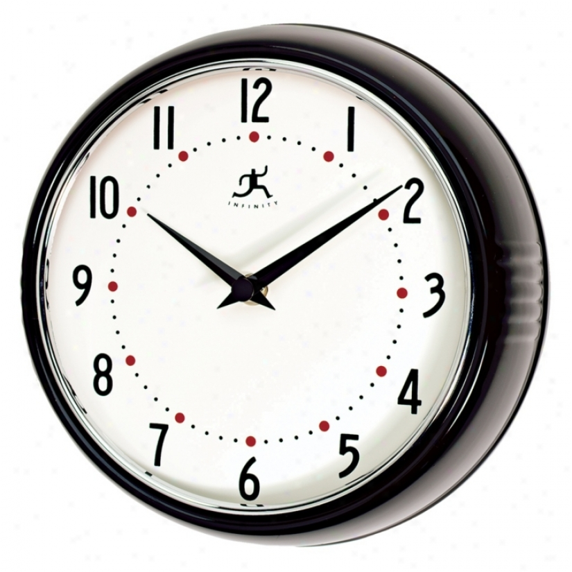 "Black Retro Round Metal 9 1/2"" Wide Wall Clock (g8761)"