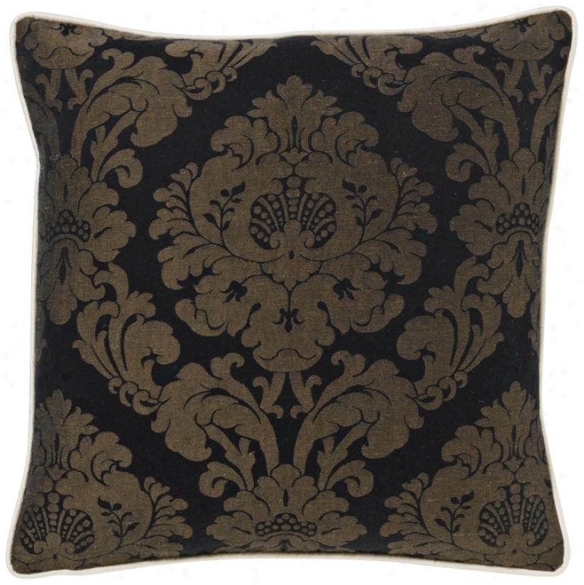 """Black Rosette Damask 18"""" Square Pillow (g2965)"""