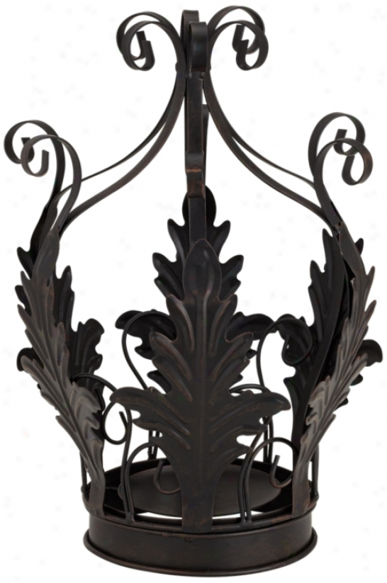 Black Rustic Crown Candle Holder (u7988)