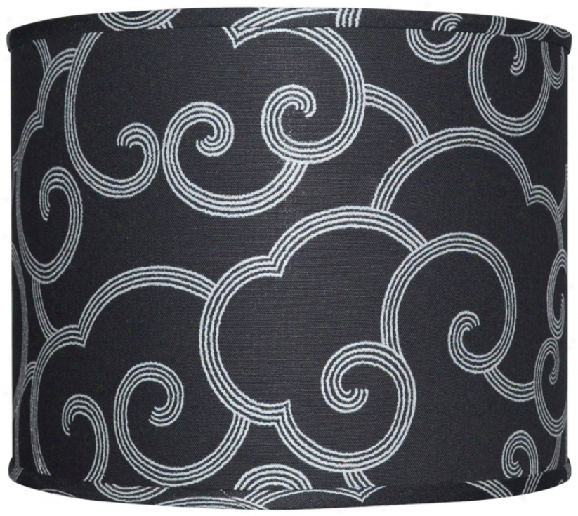 Black With Gray Scroll Lamp Shade 16x16x13 (spider) (w0272