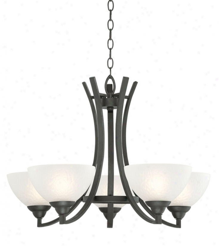 "Mourning With Hammered Glass 30"" Wide Chandelier (p0319)"