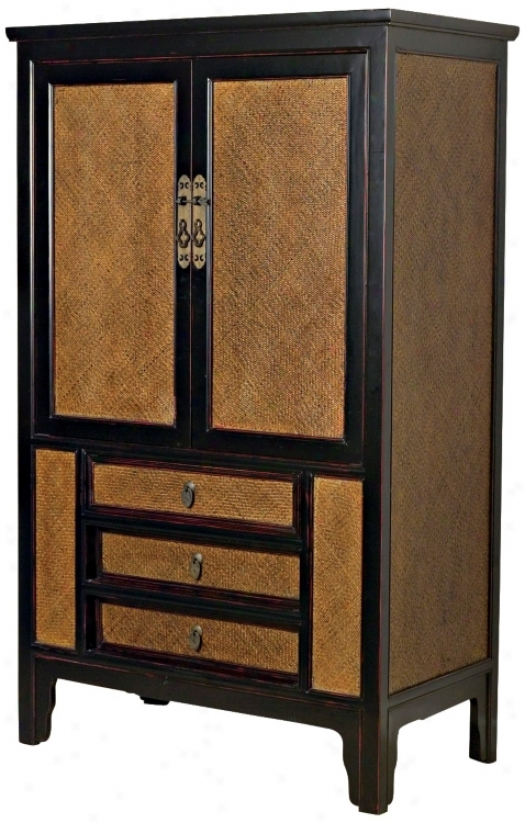 Black With Rattan Television Armoire (j8613)