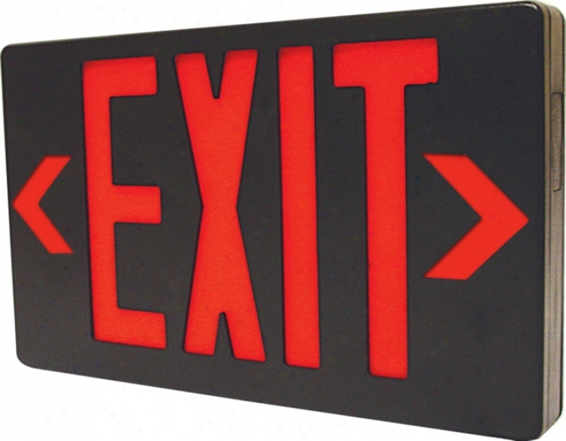 Black With Red Led Exit Sign With Battery Backup (45647)