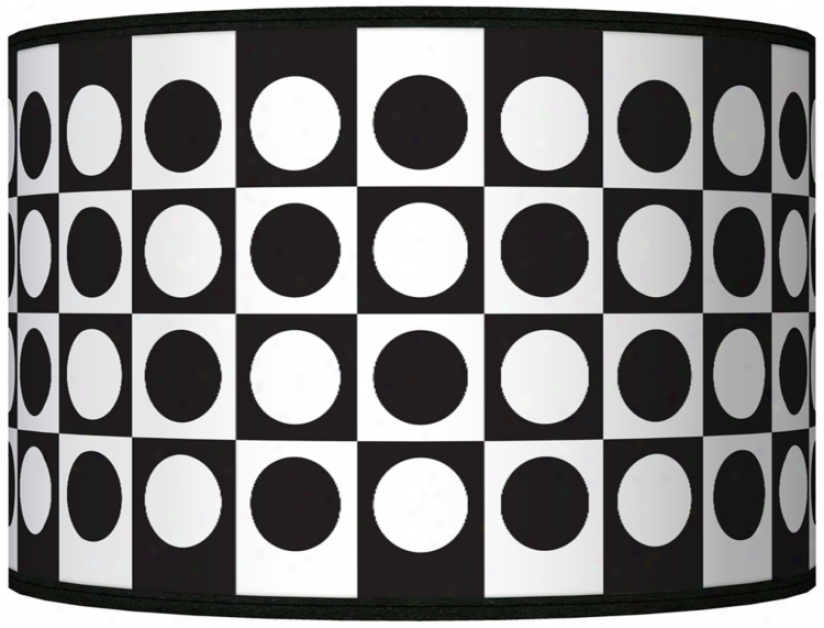 Black/white Dotted Square Giclee Shade 12x12x8.5 (spider) (j8517-k5420)